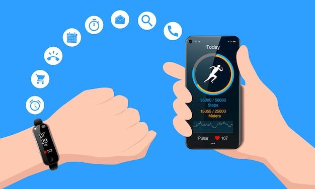 手とスマートフォン、トラッカーと心拍数メーターを実行しているモバイルフィットネスアプリ、健康的なライフスタイルのコンセプト、現実的な黒い時計 Premiumベクター