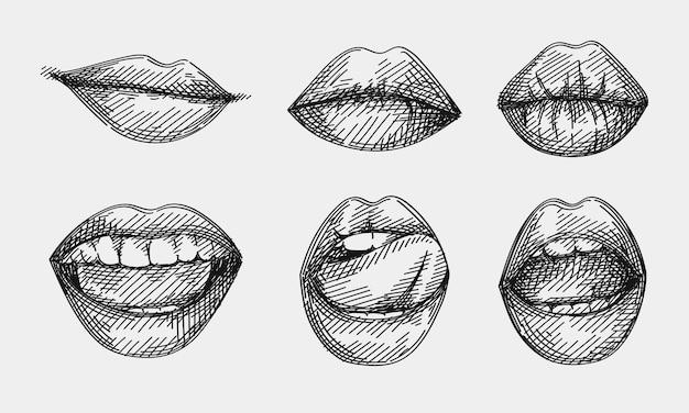 Эскиз Набор Губ — стоковая векторная графика и другие изображения ... | 375x626