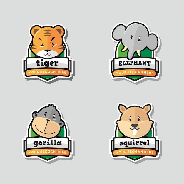 Набор забавного талисмана с логотипом животного Premium векторы