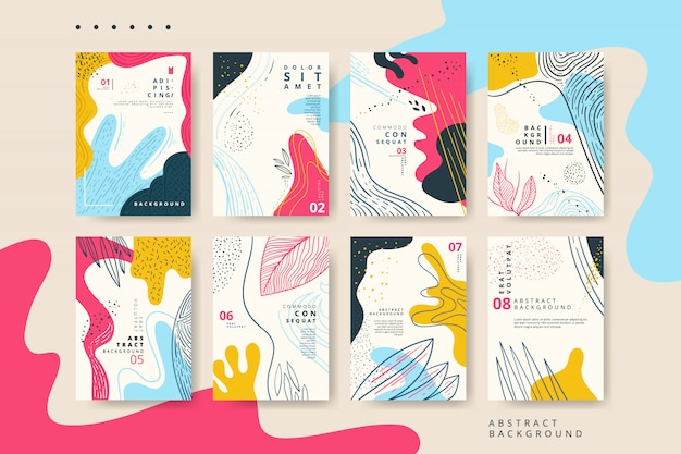 手描きのテクスチャと抽象的なユニバーサルカードのセット Premiumベクター