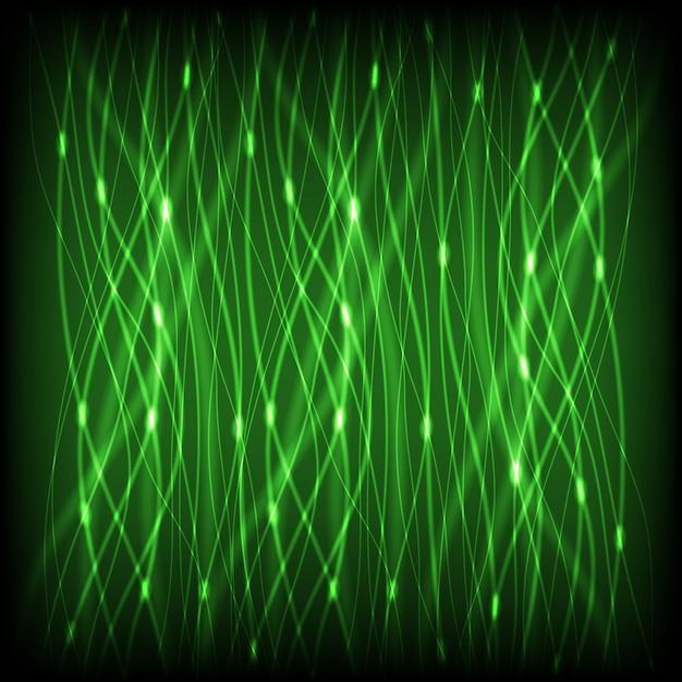 Зеленый абстрактный неоновые линии с блики фоном Premium векторы