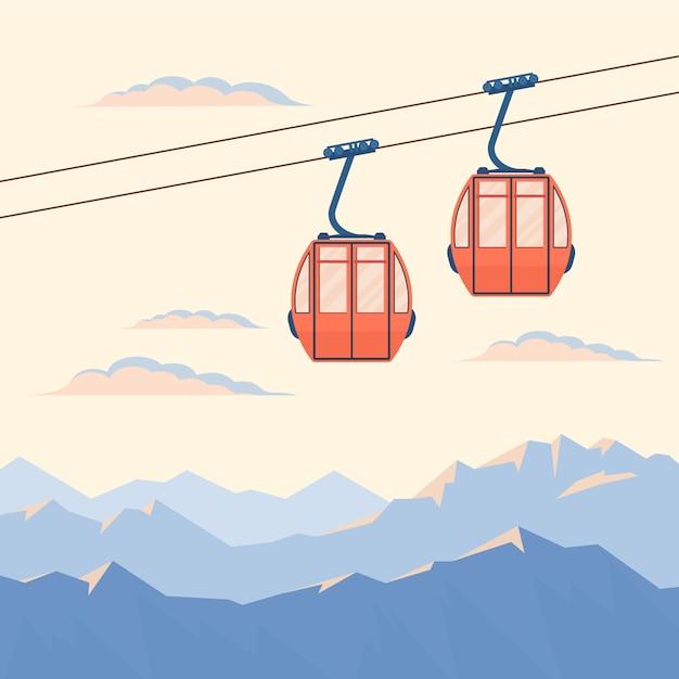 Красный подъемник для горнолыжников и сноубордистов поднимается по канатной дороге Premium векторы