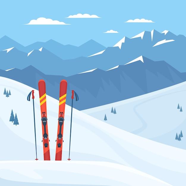 Красное лыжное снаряжение на горнолыжном курорте. Premium векторы
