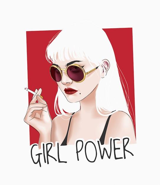 タバコの図を保持しているサングラスの女の子と女の子力スローガン Premiumベクター