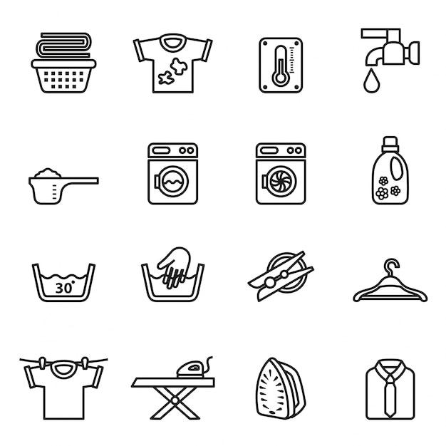 Прачечная иконки. значки домохозяйства. Premium векторы