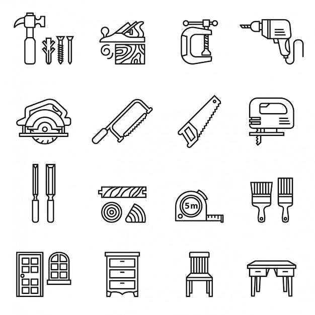 Элементы плотника или значок плотника установили с белой предпосылкой. тонкая линия стиль векторного. Premium векторы