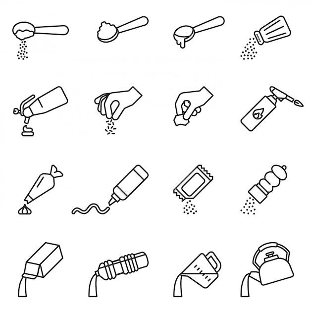 Инструкции по приготовлению и приготовлению. набор иконок Premium векторы