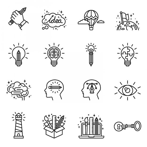 Творчество, воображение, решение проблем, набор иконок силы разума. тонкая линия в стиле сток. Premium векторы