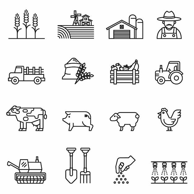 Значок линии фермы и сельское хозяйство с. фермеры, плантации, садоводство, животные, объекты, комбайны, тракторы. Premium векторы