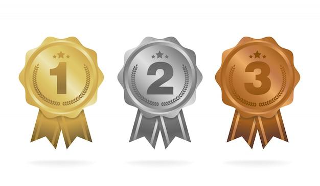 Первое место. второе место. третье место. набор наградных медалей Premium векторы