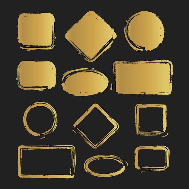 Золотой гранж старинный окрашенный набор наклеек Premium векторы