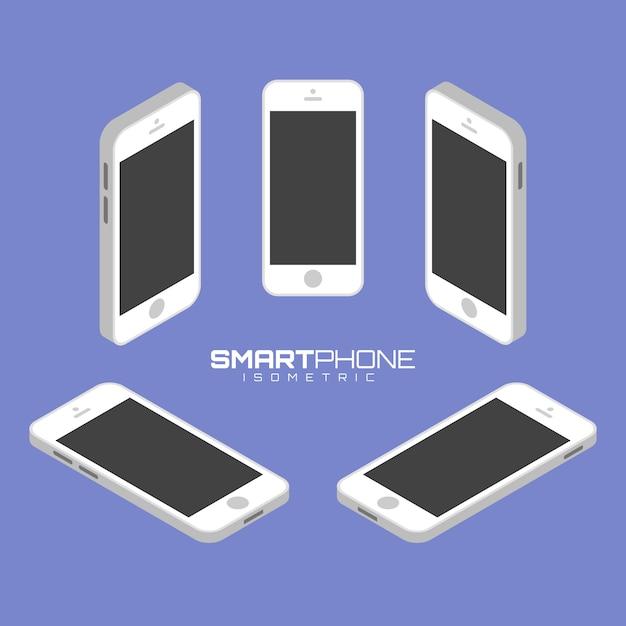 Мобильный телефон с четырех сторон значок набор векторных графических иллюстраций. Premium векторы