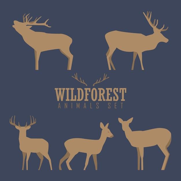 クリスマス鹿、白い背景で隔離の鹿の様々なシルエット Premiumベクター