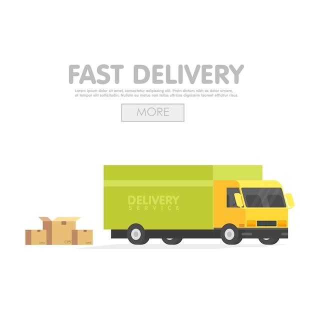Доставка машины и комплект картонных коробок. векторная иллюстрация концепция службы доставки Premium векторы