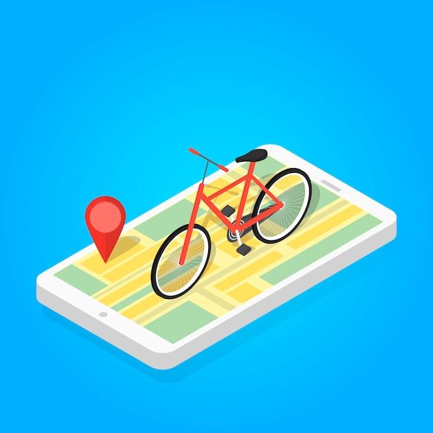 Изометрические иллюстрация телефона карта велосипеда. Premium векторы