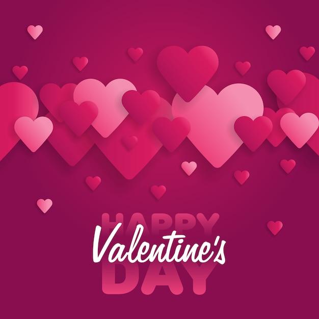 Открытка с днем святого валентина. надпись с сердечками на фоне Premium векторы