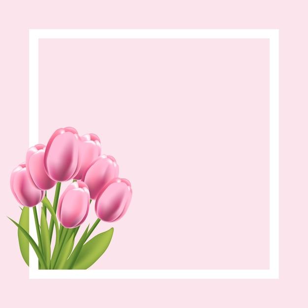 現実的なチューリップの花のフレーム。テキスト、挨拶、春プロモーションバナーの空のテンプレート。 Premiumベクター