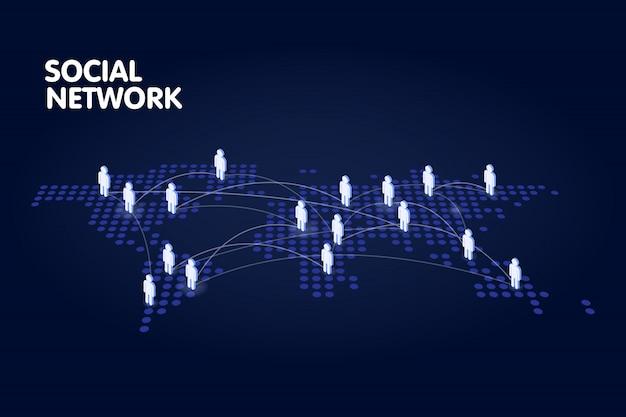 Пунктирная карта мира с символом людей. концепция технологии социальных сетей Premium векторы