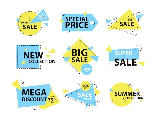 Модный современный геометрический знак продажи и этикетки установлены. Premium векторы