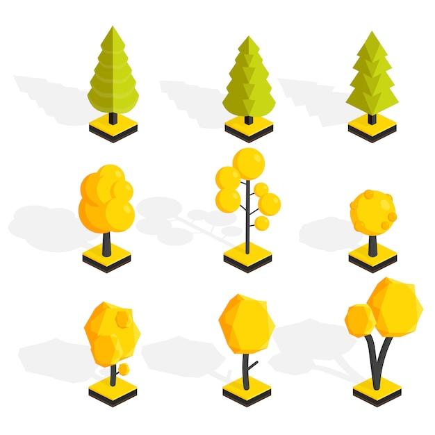 Изометрические осенние деревья установлены Premium векторы