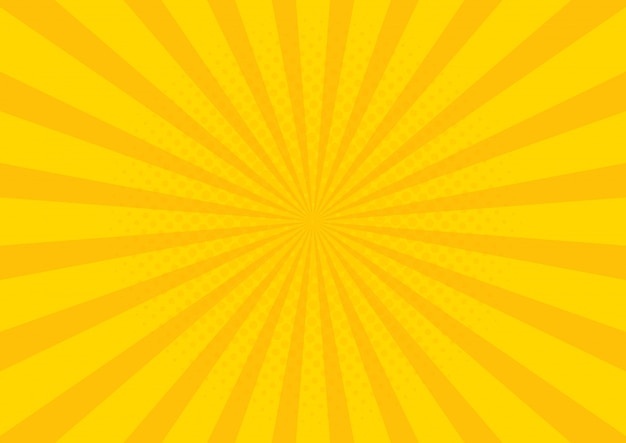 Желтый ретро винтажный стиль фона с солнечными лучами Premium векторы