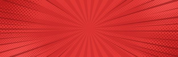 Винтаж поп-арт красного знамени фон. Premium векторы