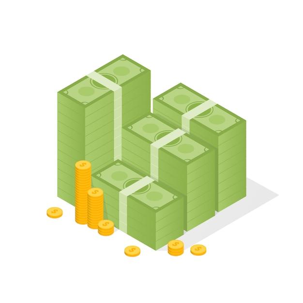 Большая сложенная куча денег и несколько золотых монет. плоский стиль иллюстрации Premium векторы