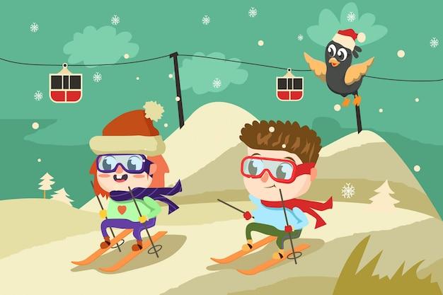 Счастливое катание на лыжах Premium векторы