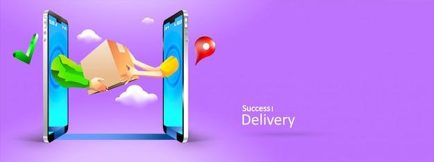 Мужские и женские руки, давая пакет другому по телефону онлайн Premium векторы
