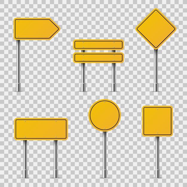 Желтые дорожные знаки. бланк дорожное движение пустое предупреждение предостережение внимание остановка безопасность форма опасность доски улица руководство Premium векторы