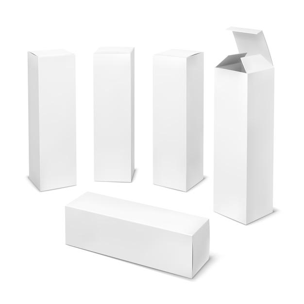 背の高い白いボックス。段ボールの化粧品ボックス長方形の空白のパッケージと影の医薬品縦型 Premiumベクター