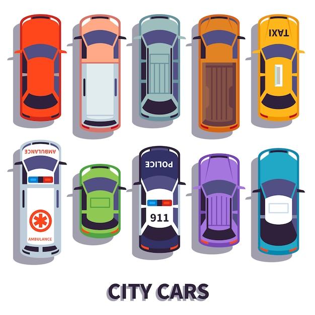 Вид сверху автомобиля. городской транспортный набор Premium векторы