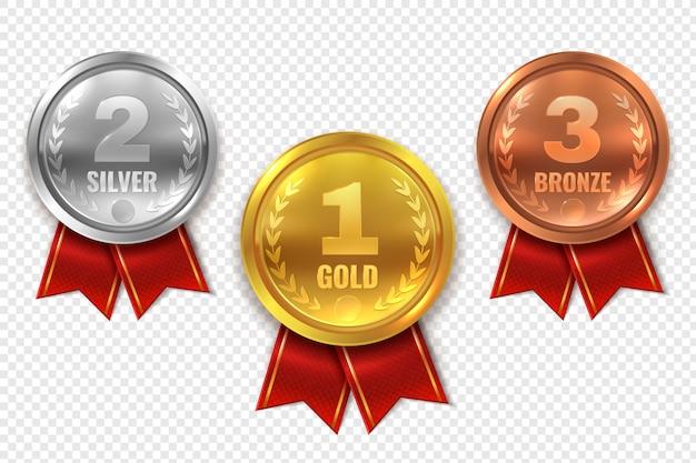 Реалистичные наградные медали. обладатель медали, золото, бронза, серебро, первое место, трофей, чемпионский титул, приз за лучший круг Premium векторы