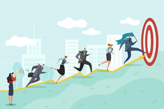 Бегом к цели. деловые люди стремятся к успеху корпоративные профессиональные достижения, амбициозные цели Premium векторы