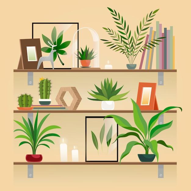 棚の上の植物。棚の上のポットの観葉植物。屋内庭の鉢植え、家の装飾の要素のベクトル。 Premiumベクター
