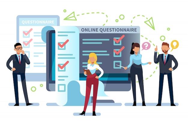 Онлайн анкета. люди заполняют форму интернет-опроса на пк. список экзаменов, успешное тестирование компьютера, онлайн-викторина Premium векторы