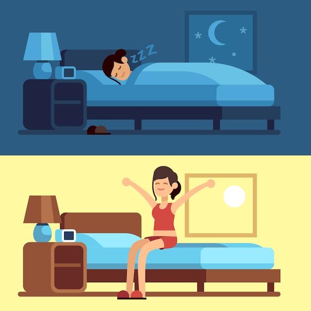 Женщина спит просыпается. девушка расслабляющий спальня ночь, проснувшись утром растяжения сидя на матрасе. женский хороший сон Premium векторы