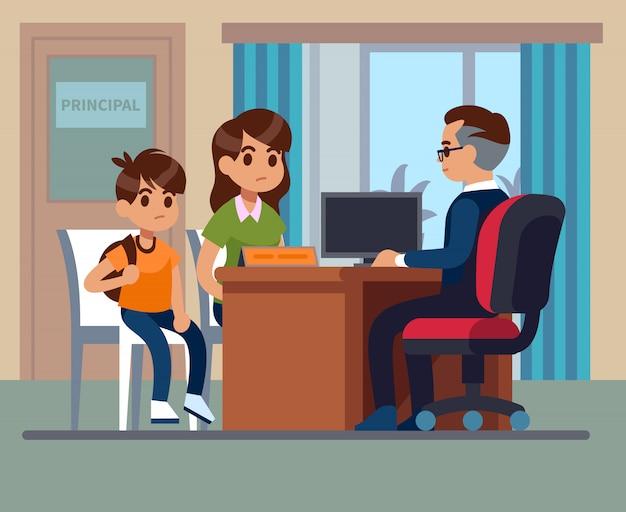 Основная школа. встреча учителей детей родителей в офисе. несчастная мама с сыном разговаривают с разгневанным директором. школьное образование Premium векторы