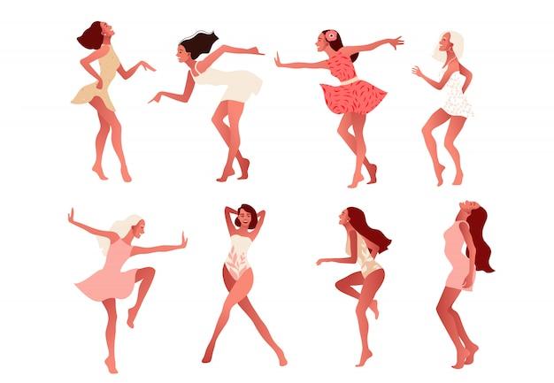Набор счастливых девушек или друзей, танцующих и смеющихся. Premium векторы