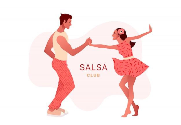 Сальса в городе. уличные танцы. красивая пара танцует. люди в любви. Premium векторы