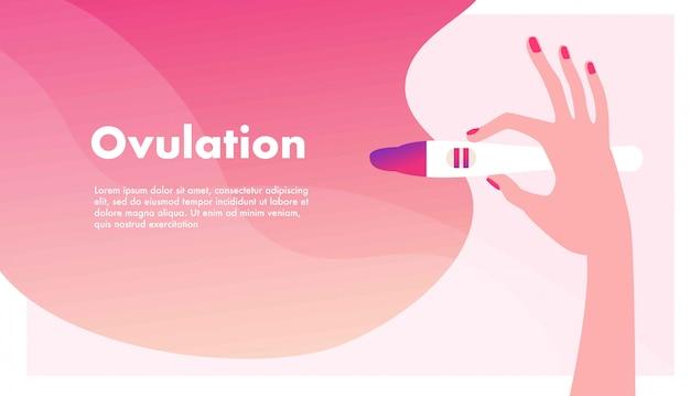 妊娠の計画。妊婦。排卵または妊娠検査を持っている手。女性の生殖、生殖能力またはホルモンの健康概念。 Premiumベクター
