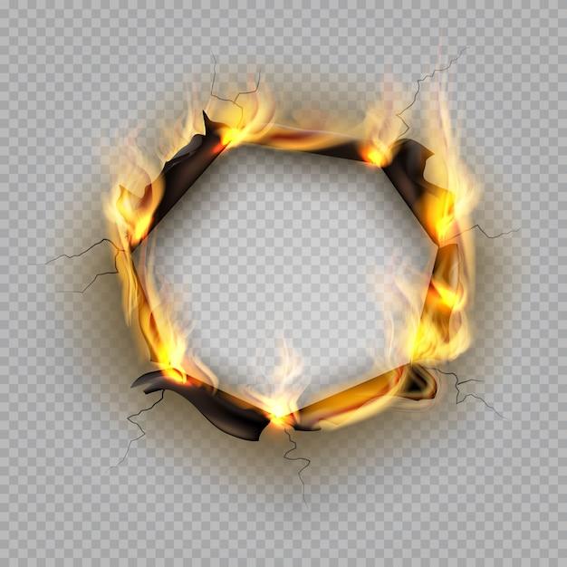 紙焼け穴。炎のエッジ効果焦げた効果引き裂かれた爆発境界線破壊されたページ熱ひび割れフレーム Premiumベクター