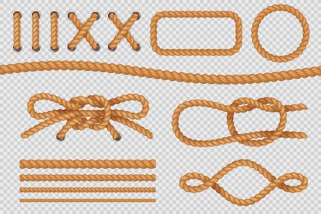 Канатные элементы. морские веревочные бордюры, морские канаты с узлом, старая парусная петля. устанавливать Premium векторы