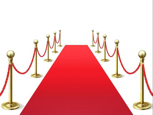 Красный ковер. событие знаменитых ковров с веревочным барьером. Premium векторы