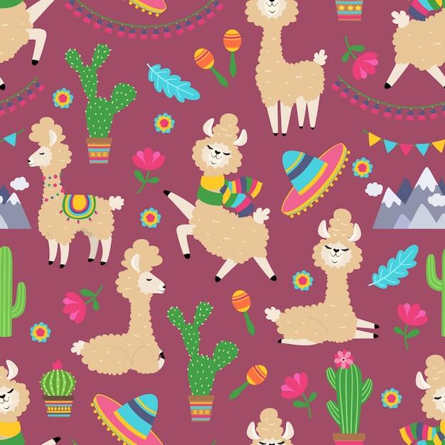 ラマのシームレスなパターン。アルパカの赤ちゃんとサボテンのガーリーなテキスタイルテクスチャ。 Premiumベクター