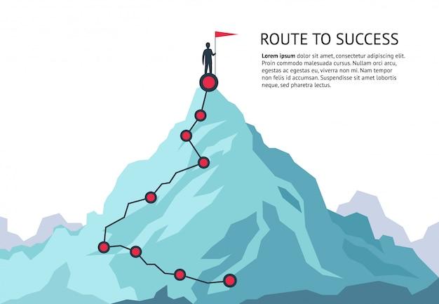 山の旅の道。チャレンジインフォグラフィックキャリアトップゴール成長計画の旅を成功に導きます。ビジネスクライミング Premiumベクター