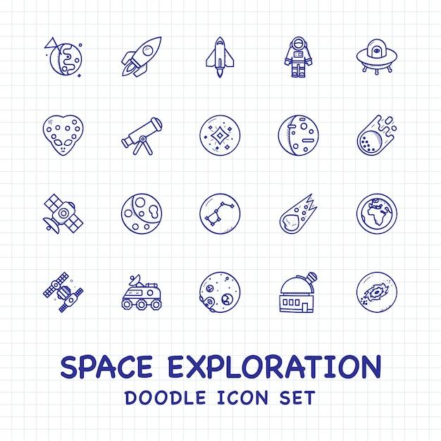 Набор иконок каракули исследования космоса Premium векторы