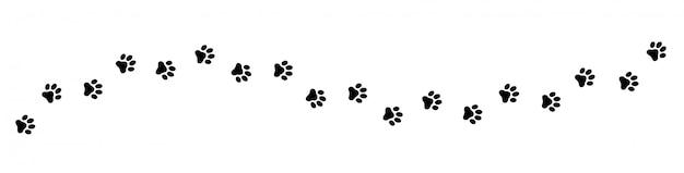 足跡猫、犬、子犬ペットトレース。 Premiumベクター