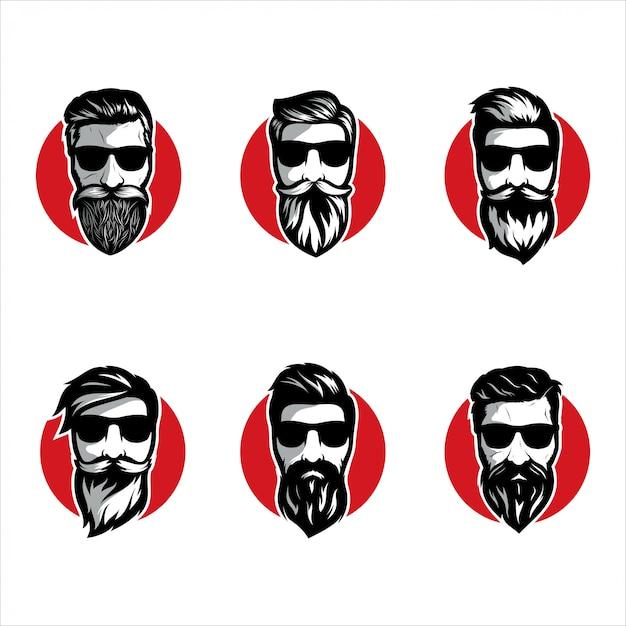 Борода парикмахерская иллюстрации набор Premium векторы