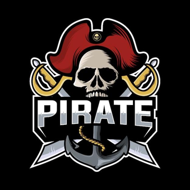 Череп пиратский логотип Premium векторы